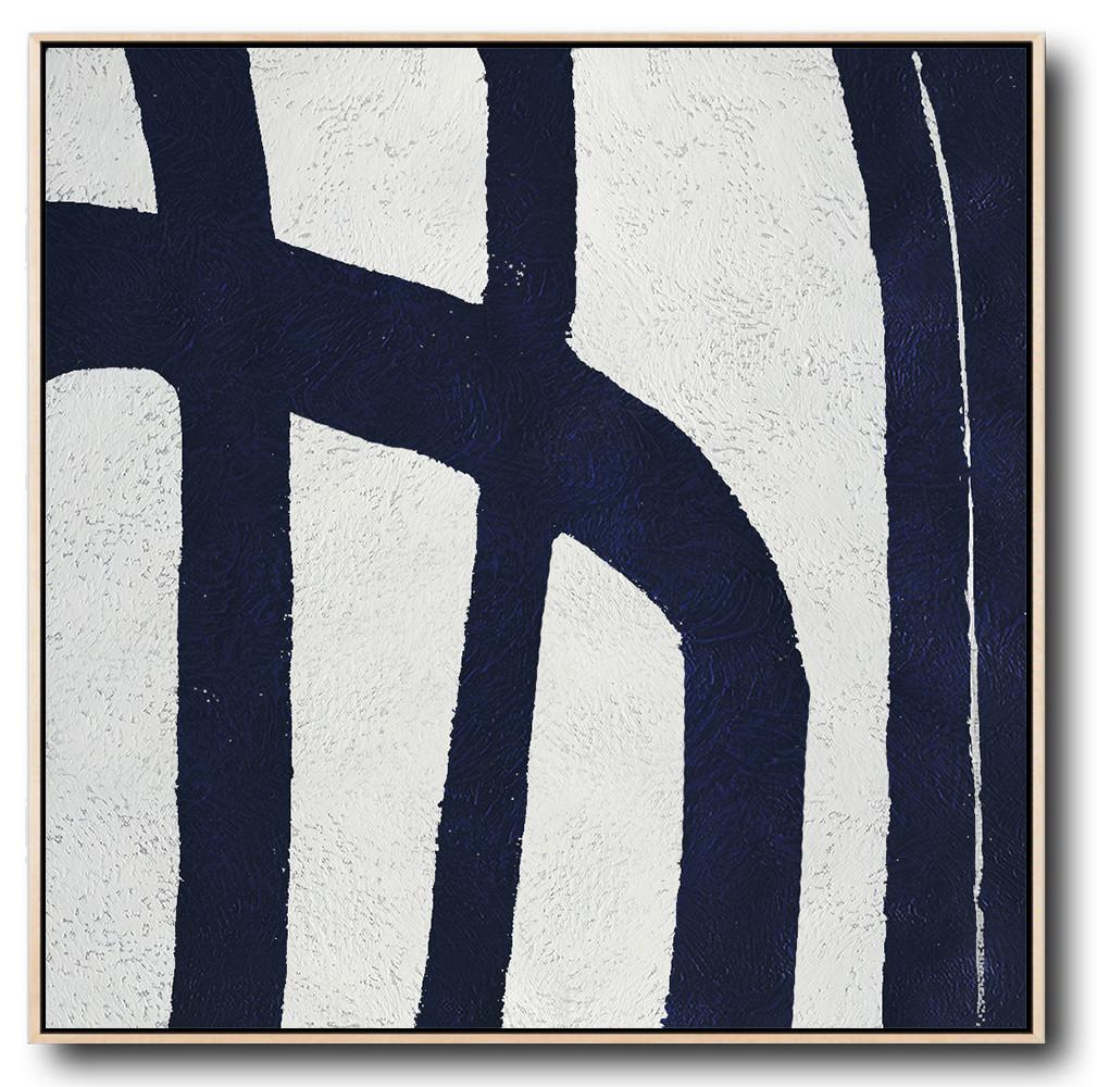 Handmade Large Contemporary Art,Minimalist Navy Blue And White Painting,Huge Abstract Canvas Art